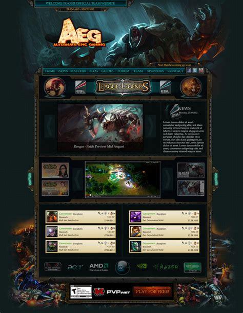 Webdesign For Team Aeg Esl League Of Legends By Loomarnet On Deviantart League Website Template