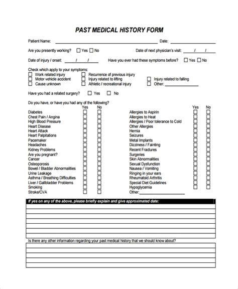 10 Medical History Templates Sle Templates Medication History Form Templates