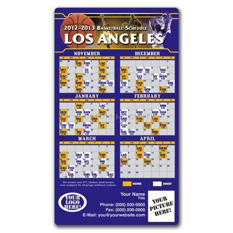 los angeles lakers basketball team schedule magnets 4 quot x 7