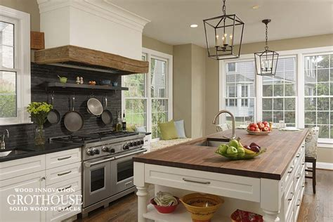 Farmhouse Kitchen Countertops by Custom Wood Countertops For Farmhouse Style Kitchens