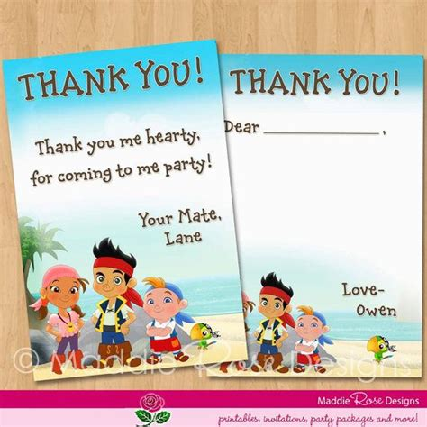 jake and the neverland thank you card template jake and the neverland thank you card by