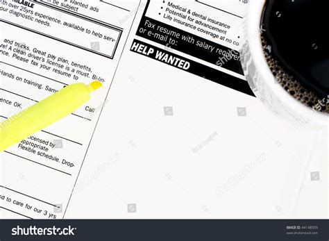 help wanted section blank help wanted section newspaper cup stock photo