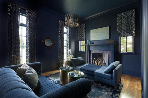 dark blue living room walls gold and blue curtains design ideas