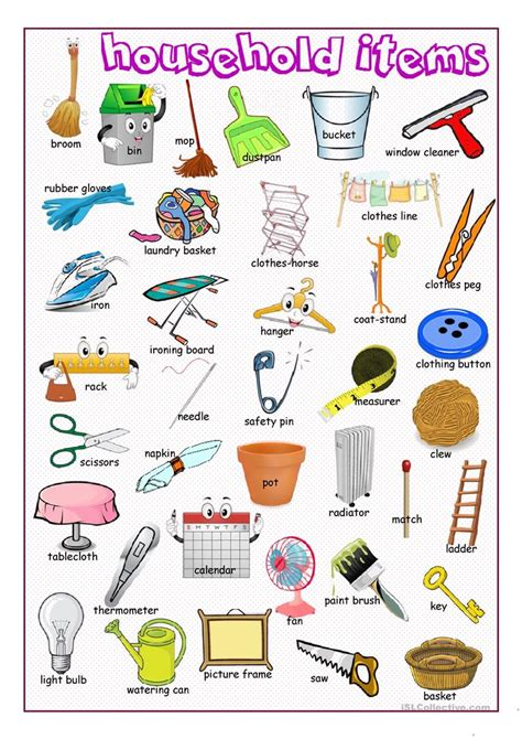 define doodle noun household items picture dictionary worksheet free esl