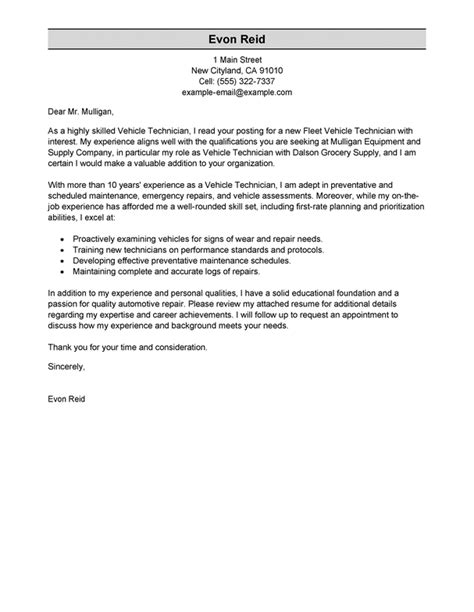 Automotive Technician  Transportation Cover Letter Sample