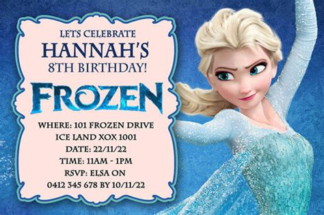 frozen birthday invitation with photo best selection of frozen personalized birthday invitations 2014 2015 a listly list