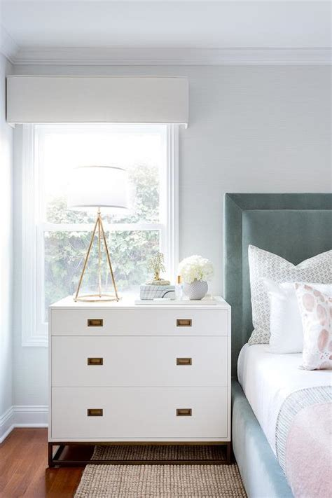 Dresser As Nightstand Blue Velvet Headboard With White And Gold Nightstand Transitional Bedroom