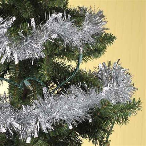 silver tinsel garland 6 feet