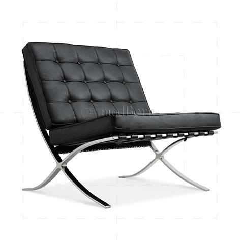 Ludwig Mies van der Rohe Barcelona Style Chair Black Leather