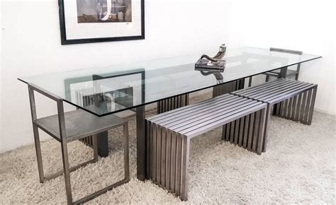 steel benches for sale philip plein steel dining suite with chairs and benches