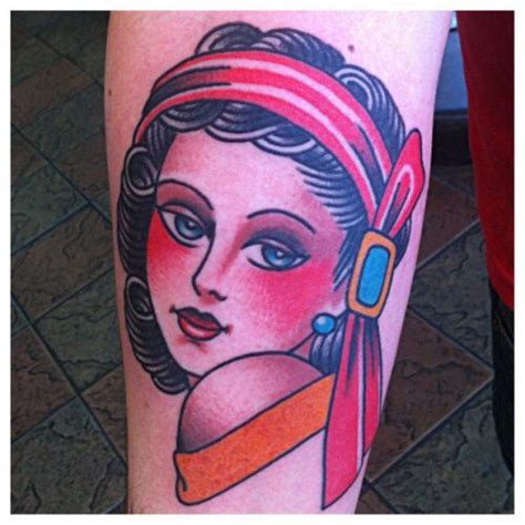 tattoo girl with books in head traditional girl head tattoo by ryan brown all star