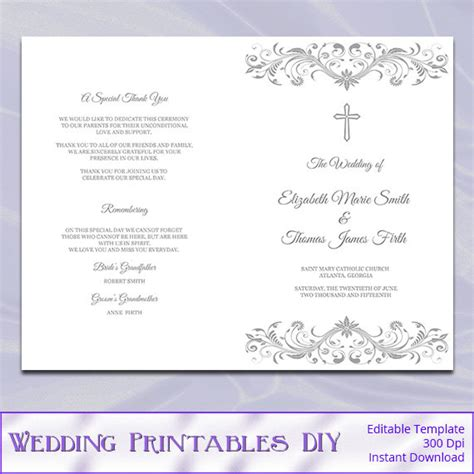 catholic wedding program template diy silver gray cross