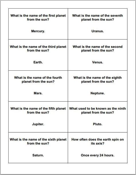 printable quiz cards astronomy and planets printable trivia question cards