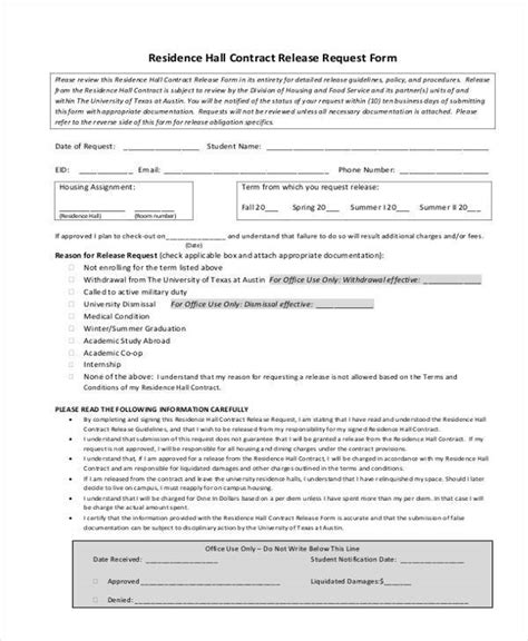 Contract Form Templates Contract Release Form Template