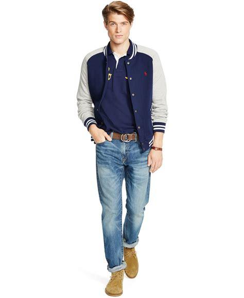 Sweater Baseball Polos Cotton Fleece lyst polo ralph fleece baseball jacket in blue