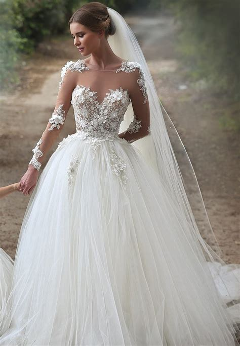 Brautkleider Prinzessin Spitze by Elegante Brautkleider Wei 223 E Spitze Mit 196 Rmel Prinzessin