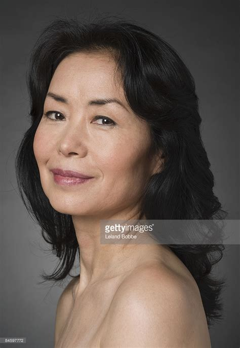 beautful fifty year old asian women portrait of mature japanese woman bare shoulders stock