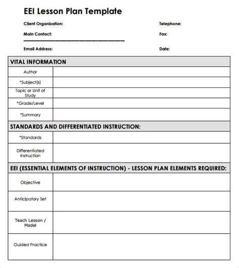 Lesson Plan Template by Sle Blank Lesson Plan 10 Documents In Pdf