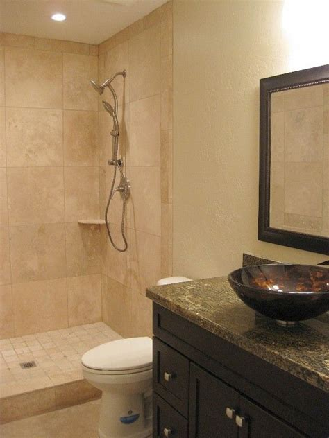 Guest Bathroom With Travertine Shower Bathroom Ideas Guest Bathroom Shower Ideas