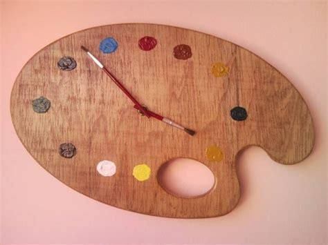 Steam Punk Home Decor Painter Palette Artistic Wall Clock With Red Brush Clock Hands