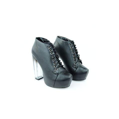 black leather perspex heel platform ankle boots from parisia
