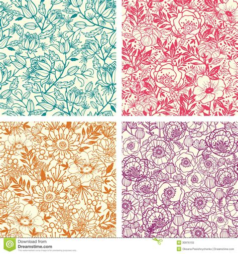 flowers seamless pattern element vector background set of four floral line art seamless pattern stock vector