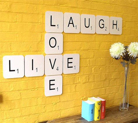 wall scrabble tiles live laugh scrabble wall tiles by copperdot
