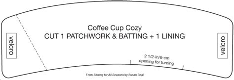 Coffee Sleeve And French Press Cozy Sewing Patterns Craftfoxes Coffee Cozy Template