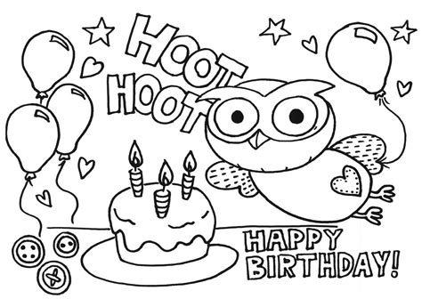 birthday card coloring page coloring home