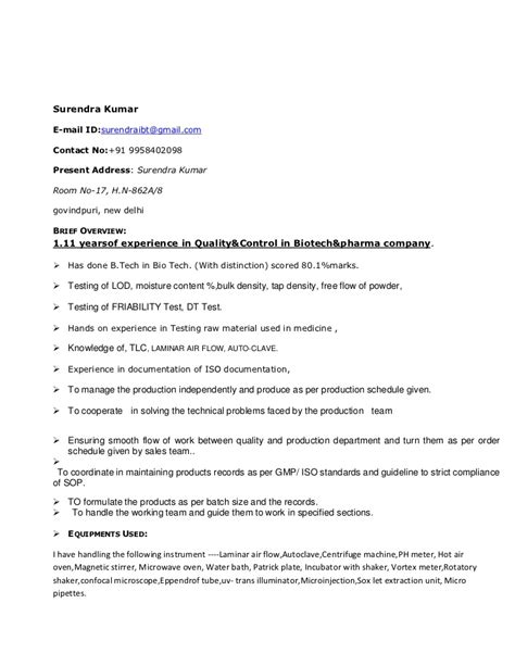 Surendra resume of quality control and microbiologist in r