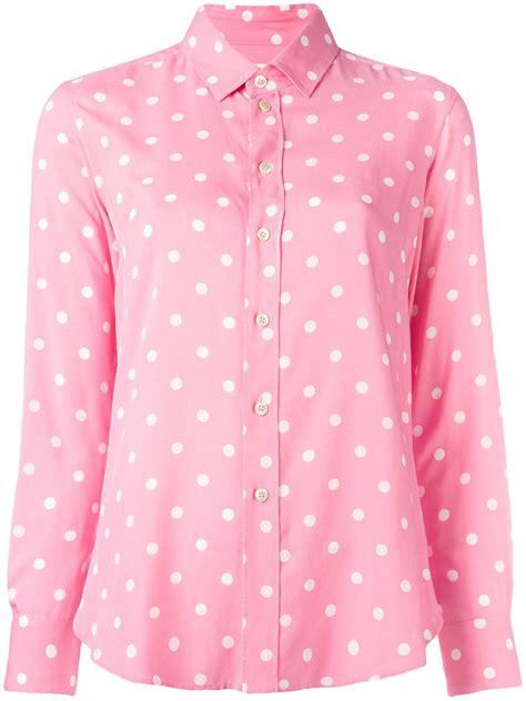 Polkadot Shirt laurent polka dot shirt in pink lyst