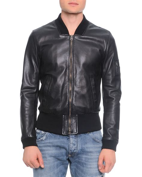 Dolce Jacket lyst dolce gabbana leather bomber jacket in black for