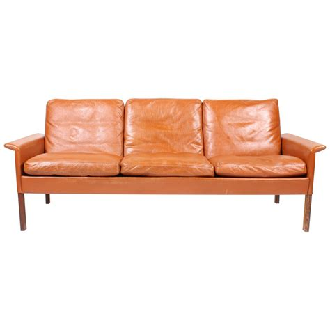 hans olsen sofa hans olsen sofa in patinated leather for sale at 1stdibs