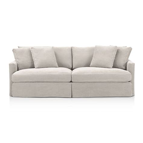 lounge slipcovered 93 quot sofa dove with contrast saddle