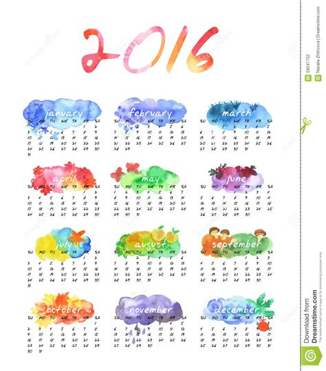 Calendã Setembro 2016 Watercolor Calendar 2016 Stock Vector Image Of Calendar