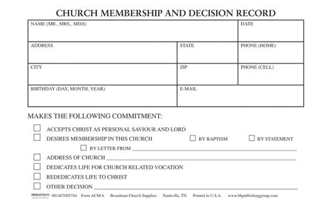 church member contact card template application for church membership form acm 5 b h