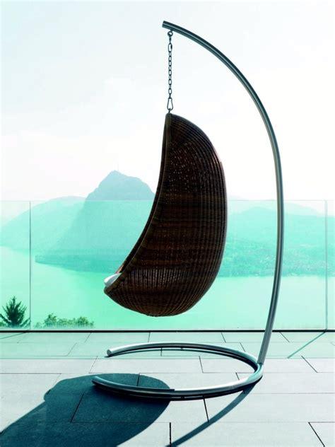 rattan hanging chair   comfort  relaxation   garden interior design ideas
