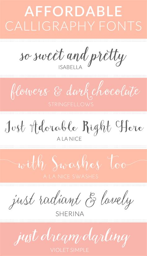 my favorite modern cheap calligraphy fonts