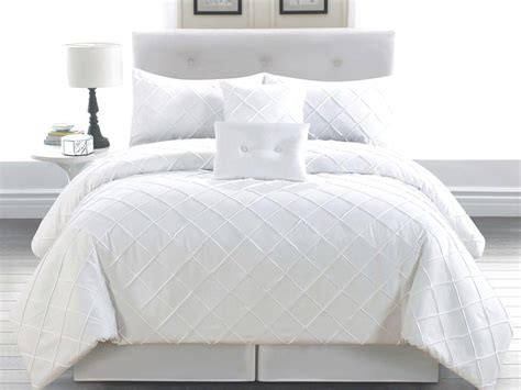 queen comforter set white 6pc lattice textured elegant