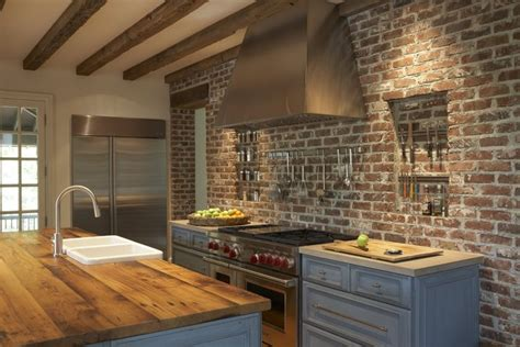 brick wall kitchen wood countertop i can dream home pintere