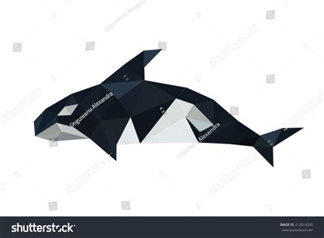 Killer Whale Origami - illustration origami orca dolphin isolated on stock vector