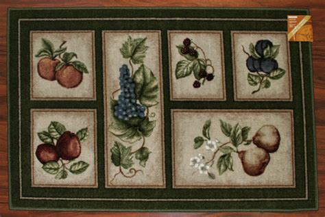 Fruit Kitchen Rug Sets 30x46 Kitchen Rug Mat Green Beige Washable Fruit Grapes Pears Apples Ebay