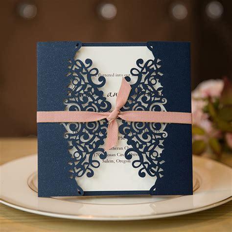 Blue Wedding Invitation Cards by Formal Navy Blue Laser Cut Wedding Invitation Cards With