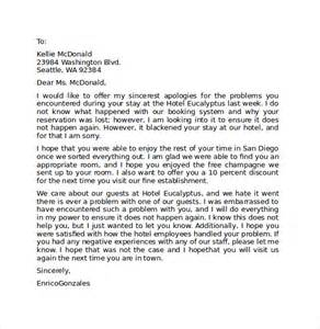 Apology Letter In Hotel Sle Hotel Apology Letter 7 Free Documents In Pdf Word