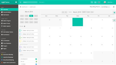 material design calendar css monsteradmin template with a touch of material design