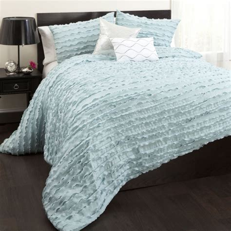 5pc spa blue ruffled design with silver trim comforter set