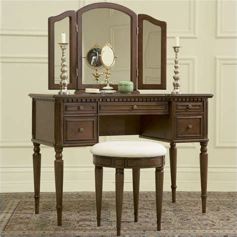 vanities for bedrooms with mirror powell furniture vanity set in warm cherry makeup vanity