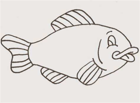 sketsa gambar mewarnai binatang kartun ikan bahasapedia bahasapedia