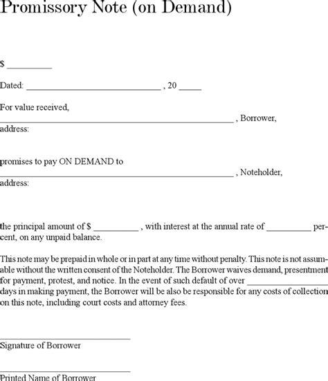 demand promissory note template promissory note templates free premium