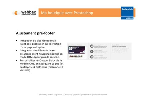layoutit footer cours prestashop 1 6 webbax ecole club migros